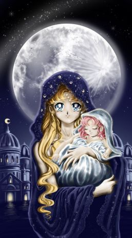 """Sailor Moon R"" Neo Queen Serenity and an infant Princess Small Lady Serenity. Holy moon by Pillara"